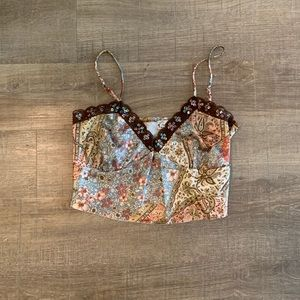 Floral lace trimmed cami top